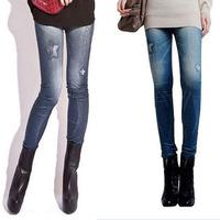 Free shipping  Super Seamless star print leggings pantyhose Denim fake hole Leggings blue and black-WZ069