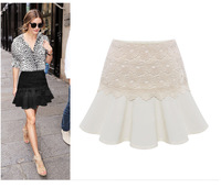 2014 Summer New European and American Fashion Casual Solid Wild Lace Skirt Flounced Skirts