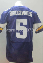 #5 Teddy Bridgewater Jersey,Elite Football Jersey,Best quality,Authentic Jersey,Embroidery Logo,Size M--3XL,Can Mix Order(China (Mainland))