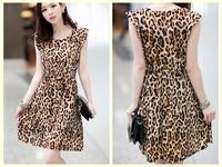 2014 New arrival Leopard Dresses for Women one-piece Sleeveless Summer Pleated Skirt O-neck Plus size Women Ruffles Dresses