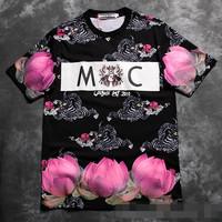 sammc london flower print  2014 summer men's short sleeve shirt fashion Round neck t-shirt cotton casual tshirt hiphop unisex205