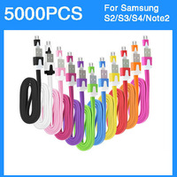 Noodle Micro USB Cable for Samsung Galaxy Note2 Note1 S4 S3 S2 Data Sync  Colorful 1m/3Ft 5000pcs/lot Express Shipping