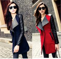 2014 New Women Wool Leather Trench Coat Warm Women's Slim Overcoat Coats for women Autumn casacos femininos sobretudo Blue Black
