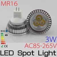 10PCS MR16 3W AC85-265V,3*1W Epistar High Power LED Non-Diemmabl led light lamp bulb Downlight Spotlight FREESHIPPING