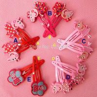 42 pcs/lot Baby BB clips girls hairpins Children Hair clips silicone Headwear cute cartoon Peppa pig doll girls hair accessories