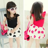 new 2014 summer   girl dress  100% cotton dot cute lovely  ball gown  vestidos de menina XC062