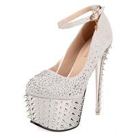 2014 Sexy Women's Pumps 16cm Ultra High Heels Platform Party Dance Shoes Rivet Pumps Red Bottom Shoes Women's Wedding Shoes