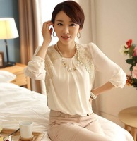 New 2014 Spring Women Lace Blouses Korea Loose Chiffon Shirt Fashion Long Sleeved O-neck Shirts OL Blouse TS1008