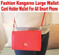 1PC Big Discount Korean Fashion Kangaroo logo wallet case For Samsung Galaxy Phone card holder wallet for iphone 5 4 No: W002