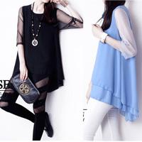 2014 women's fashion patchwork lace gauze top loose Half-sleeve shirt  plus size short-sleeve chiffon shirt