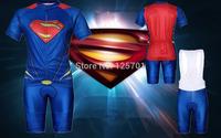 2014 NEW SUPER HERO Slim Fit Blue The Amazing Super-Man Bicycle Cycling Kits Wear Jerseys Shorts Suit + Bib Pants M/L/XL/XXL