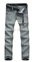 2014 Fashion Famous Brand Gray Designer Slim Straight Cotton Denim Man Men's Jeans Trousers