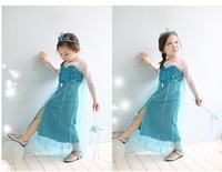 summer 2014 COSPLAY  new girl baby frozen  lace dress kids clothes Elsa Dress With a cloak  princess blue party  dresses XC063
