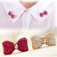 Crystal Bow Collar Pin Brooches Fashion Brooch Pin 18K Gold Plated 2pcs/lot Rhinestone Pin Brooch Top Quality Free Shipping