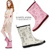 Lostlands knee-high high quality rubber women's rain boots women's rainboots rain shoes elegantlife moscire