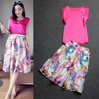 Brand Women Clothing set  2014 women ladies spring summer fashion sleeveless top shirt + print skirt casual twinset