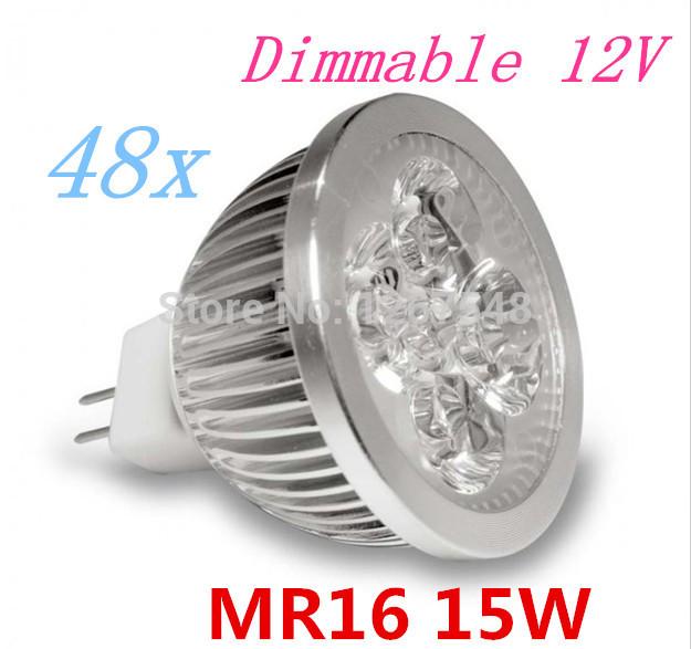48pcs/lot MR16 15W 12V High Power LED Light Bulb LED Lamp Spotlight Free shipping(China (Mainland))