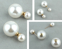 10 Pair of Hot New Design Fashion Man Made Double Pearl Earrings Ear Studs 6 Colors