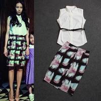 Brand Women Clothing set 2014 ladies spring summer fashion white sleeveless top shirt + print slim hip skirt ol career twinset