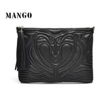 Fashion mango vintage tassel chain sculpture day clutch shoulder bag handbag messenger bag women's