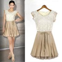 New 2014 Plus Size Summer Dress high quality Slim Princess Sweet O-Neck Sleeveless Lace Chiffon Dress Casual Dresses FT888