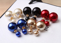 Hot New Design Fashion 1 Pair Man Made Double Pearl Earrings Ear Studs 6 Colors
