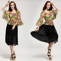 2014 Womens  summer O neck 3/4 sleeve print Asymmetrical casual dress with belt party evening dress Bohemian beach dress 0109