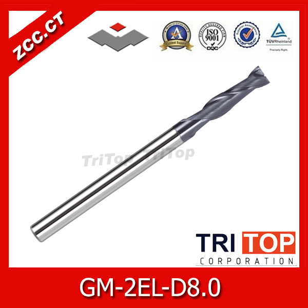 ZCC.CT GM-2EL-D8.0 Cemented Carbide 2-flute flattened Long cutting edge end mills with straight shank(China (Mainland))
