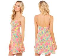 Neon pink  fold line V-neck front adjustable shoulder strap low back dress