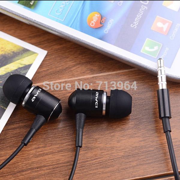 High Quality awei ES-Q3 3.5mm Jack in-ear super mega bass earphones headphones for iPhone iPod Samsung HTC MP3 MP4 10pcs/Lot(China (Mainland))
