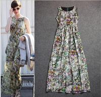 New arrival women's spring summer runway fashion Anne Hathaway style print slim formal maxi evening dress new fashion 2014