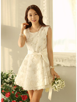 Free Shipping slim sleeveless vest all-match lace spring lovely white dress