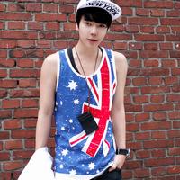 2014 male loose plus size flag torx vest o-neck undershirt  print novelty mens summer tank tops shirt casual Fashion vest