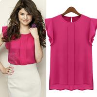 2014 fashion summer short-sleeve o-neck ruffled pleated sleeve chiffon shirt female shirt top