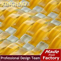 [KINGHAO] Yellow mosaic Gold metal kitchen backsplash KAR08 glass mosaic tile kitchen glass tiles pattern