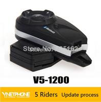 Free shipping 2014 New motorcycle intercom bluetooth helmet interphone for 5 users 1200 m  full duplex talking intercomunicador