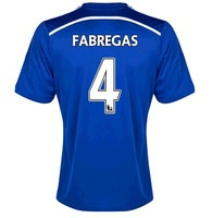 Top Quality 14/15  home jerseys #4 Fabregas Blue Shirt 2014/2015 Cheap Soccer uniforms Football kit