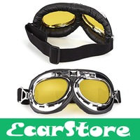 Motorcycle Goggle Racing bicycle Motorcycle Scooter Steampunk Helmet Windproof Goggle Eyewear Glasses Goggles Yellow Lens
