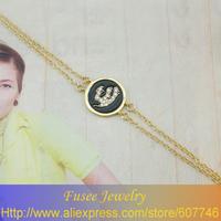 ISE00678-1 18K golden plated Muslim islamic Allah Black/White bracelet 2pcs/lot
