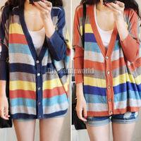 New Women Long Sleeve Loose Striped Sweater Knit Cardigan Top Coat Knitwear Blue Orange
