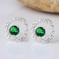 Round Circle Lady S925 Sterling Silver Piercing Studs Girlfriend Gift Jewelry E093