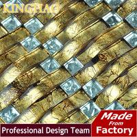 [KINGHAO] Yellow mosaic Gold metal kitchen backsplash KAR11 glass mosaic tile kitchen glass tiles pattern