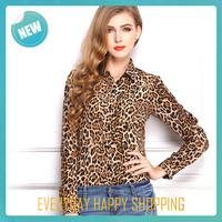 New Fashion 2014 Women Wild Leopard Print Chiffon Blouse,Lady Sexy Long Sleeve Top Shirt Loose blusa com renda