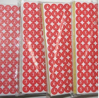 red number from 1-100 stickers Dia 10mm number label