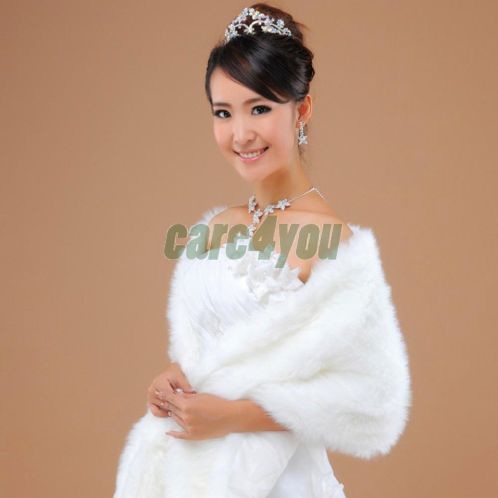 Elegant Faux Fur Wedding Shawl Wedding Wrap Long Hair Wedding Stoles Wraps Cape for Women Beige E#CH Long Hair(China (Mainland))