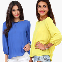 New 2014 Summer Fashion Women Lady Bow Blouses Three Quarter Sleeve Chiffon Loose Shirts, 5 Colors, S, M, L, XL, 2XL