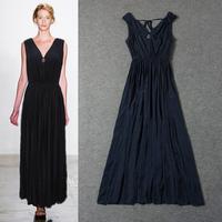 High quality 2014 women ladies spring summer runway fashion v neck sleeveless elegant maxi casual pleated dress plus size xl xxl