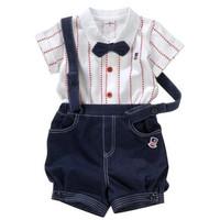 fashion Boy Gentleman Formal dress top quality cotton baby clothing set cute Bow tie white Shirt+Strap shorts 2pcs suit