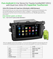 Car Head Unit For toyota corolla 2007-2011 ,2din Pure android 4.1 Os car dvd player,Audio Radio Stereo With GPS NVI