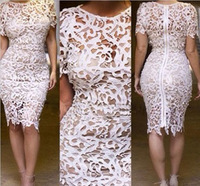 2014 Celebrity Women Vintage Floral Boho Crochet Lace Midi Evening Party Pencil Dress Bodycon Bandage dress Free shipping WQ0255